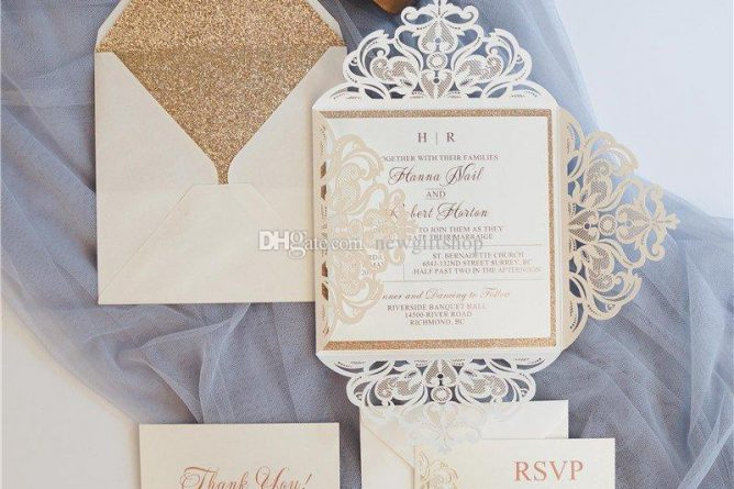 Luxury Glittery Wedding Invites Ivory Shimmy Die Cut Dinner