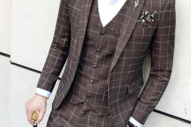2019 Mens Formal Wear Plaid Tuxedo Prom Brown Plaid Suit Vintage