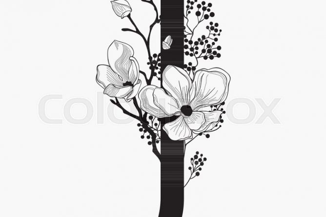 Vector Hand Drawn Floral J Monogram Or