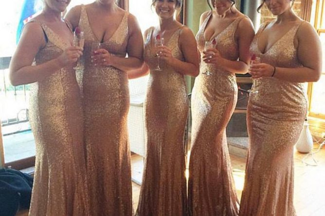 Rose Gold Bridesmaid Dress Sequin Bridesmaid Dress Long