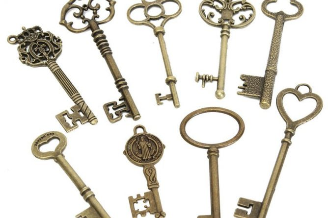 Kiwarm Retro 9pcs Antique Vintage Skeleton Keys Bronze Charm