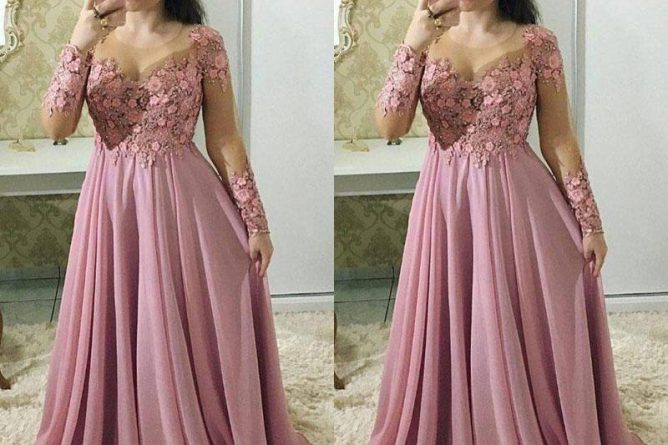 2018 Elegant Fuchsia Mother Of The Bride Dresses Sheer Neck Long