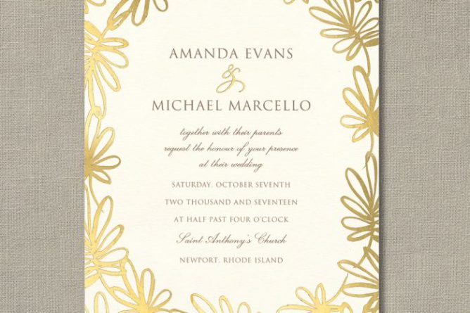 Gold Foil Stamped Garden Whimsy Invitation Sample